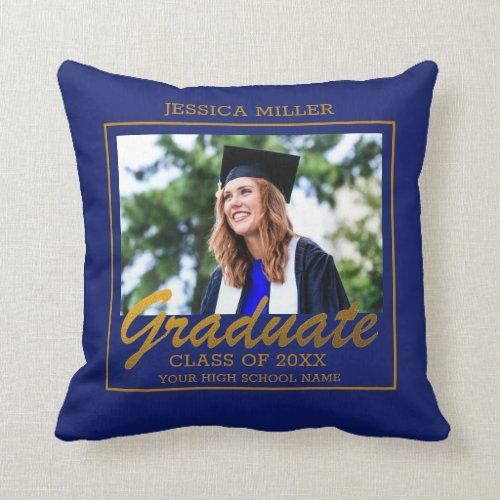 Blue And Gold Dream Big Graduation Photo Throw Pillow
