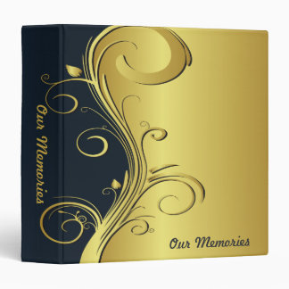 Blue and Gold Elegant Memories 3 Ring Binder