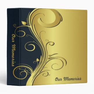 Blue and Gold Elegant Memories 3 Ring Binders