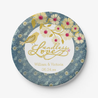 Blue and Gold Endless Love Wedding Paper Plates 7 Inch Paper Plate