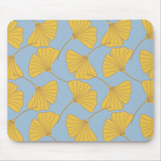Blue and Gold Fall Ginkgo Ginko Biloba Leaves Mouse Pad