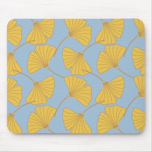 Blue and Gold Fall Ginkgo Ginko Biloba Leaves Mouse Pads