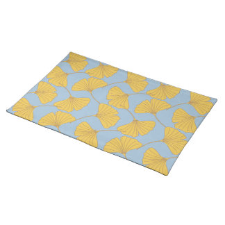 Blue and Gold Fall Ginkgo Ginko Biloba Leaves Placemat