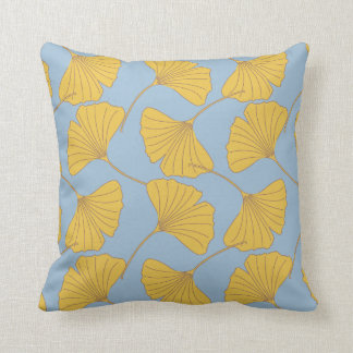 Blue and Gold Fall Ginkgo Ginko Biloba Leaves Throw Pillow