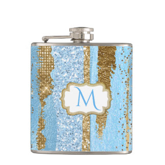 Blue and Gold Fancy Monogrammed Flask