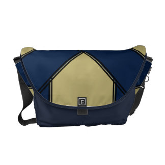 Blue and Gold Faux Ribbon-Wrap Courier Bag