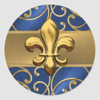 Blue and Gold Filigree Swirls Fleur de Lis Classic Round Sticker