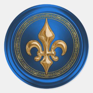 Blue and Gold Fleur de Lis Envelope Seal Round Sticker