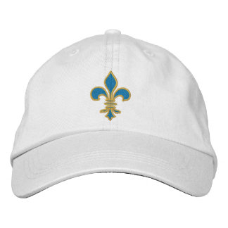 Blue and Gold Fleur De Lis Hat Embroidered Baseball Cap
