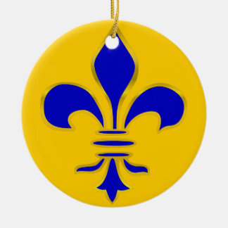 Blue and Gold Fleur De Lis - Ornament