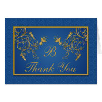 Blue and Gold Floral Damask Thank You Card