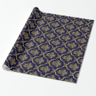 Blue And Gold Floral Damasks Lace Pattern Wrapping Paper