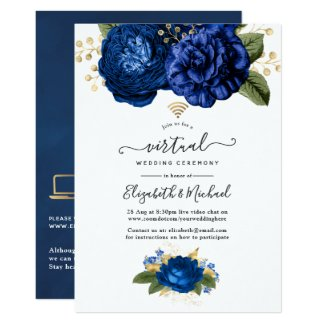 Blue and Gold Online Wedding Invitation Virtual Floral