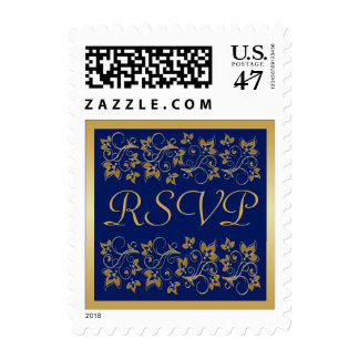 Blue and Gold Floral RSVP Postage