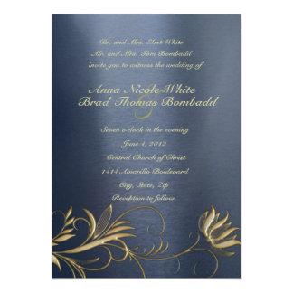 Blue and Gold Floral Vintage Wedding Invitation