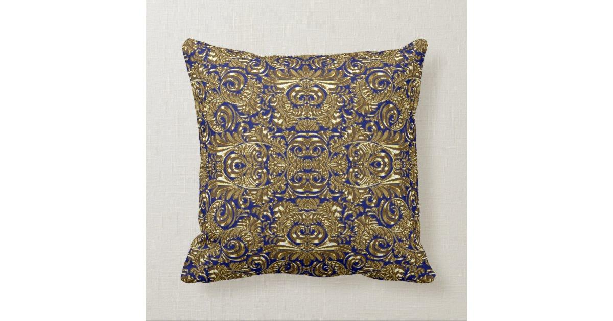 Gold Blue Decorative Pillow : Blue and Gold Flourish Throw Pillow Zazzle