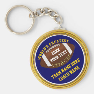 Blue and Gold Football Coach Gifts with YOUR TEXT Keychain