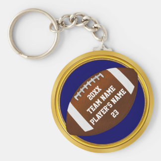 Blue and Gold Football Gifts YOUR TEXT Change Blue Keychain