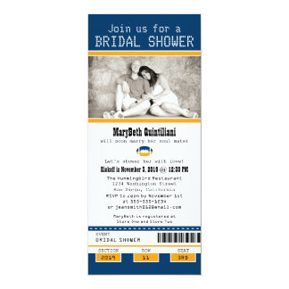 Blue and Gold Football Ticket Bridal Shower Card
