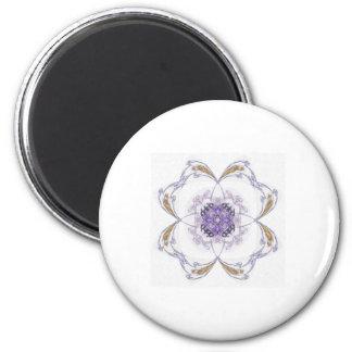 Blue and Gold Fractal Art Flower 2 Inch Round Magnet