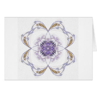 Blue and Gold Fractal Art Flower Greeting Cards