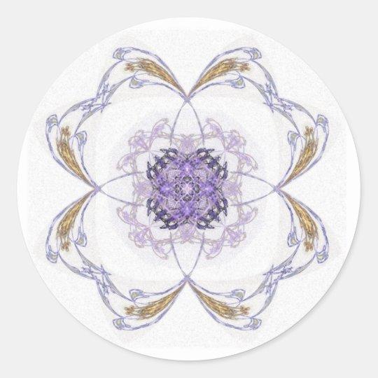 Blue and Gold Fractal Art Flower Classic Round Sticker
