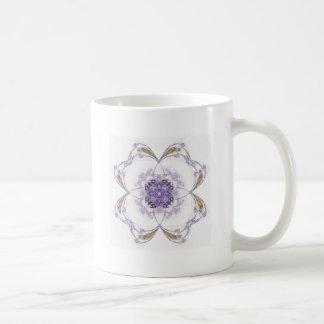 Blue and Gold Fractal Art Flower Coffee Mug