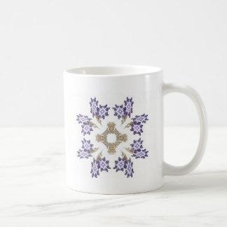 Blue and Gold Fractal Art Flower Wreath Coffee Mug
