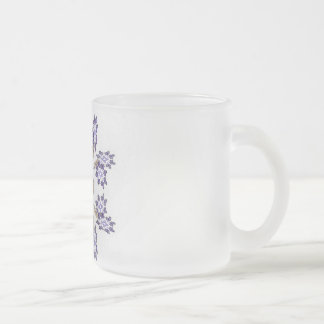 Blue and Gold Fractal Art Flower Wreath Frosted Glass Coffee Mug