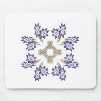 Blue and Gold Fractal Art Flower Wreath Mouse Pad