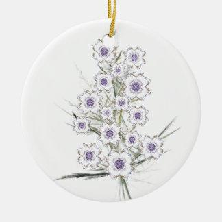 Blue and Gold Fractal Flower Cluster Ceramic Ornament