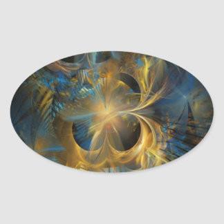 Blue and Gold Fractal Oval Sticker