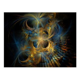 Blue and Gold Fractal Post Cards