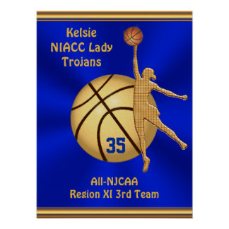 Blue and Gold Girls Basketball Poster,  YOUR TEXT Poster