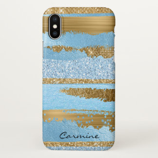 Blue and Gold Glam iPhone X Case