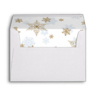 Blue and Gold Glitter Snowflake, Winter Sparkle Envelope