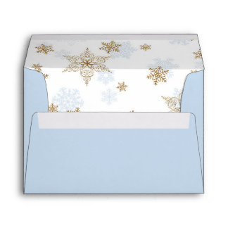 Blue and Gold Glitter Snowflakes, Winter Sparkle Envelope