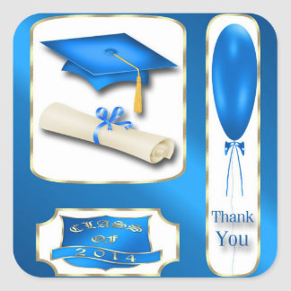 Blue and Gold Graduation Thank You envelope seal Square Stickers