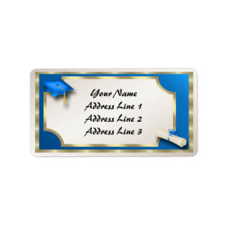 Blue and Gold Grauation Address Labels