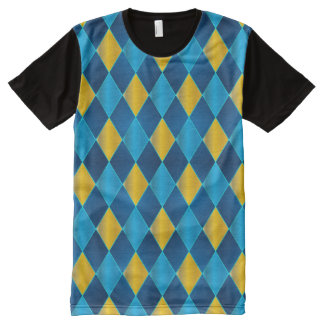 Blue and Gold Harlequin All-Over Print T-shirt