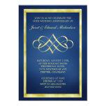 """Blue and Gold Heart Swirl Anniversary Invitation 5"""" X 7"""" Invitation Card"""