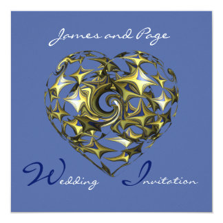 Blue and Gold Heart Wedding Fine Art Card