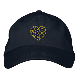 Blue and Gold Hearts Embroidered Hat