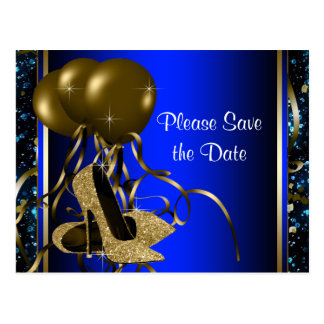 Blue and Gold High Heel Shoe Save The Date Postcard