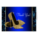 Blue and Gold High Heel Shoe Thank You Stationery Note Card