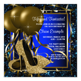 Blue and Gold High Heels Birthday Party 5.25x5.25 Square Paper Invitation Card