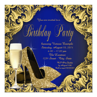 Blue and Gold High Heels Champagne Birthday Party Card