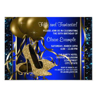 Blue and Gold High Heels Womans Birthday Party Card