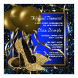 Blue and Gold High Heels Womans Birthday Party Custom Invitation