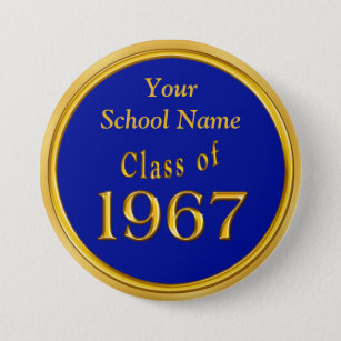 Blue and Gold High School Reunion Favors Ideas Pinback Button